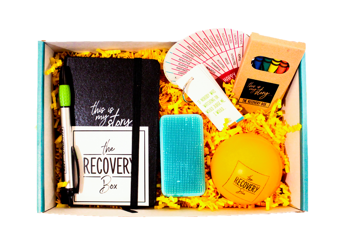 The Recovery Box contents - pen, sensory brush, journal, crayons, stress ball